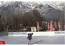Eislaufen auf dem Kunsteislaufplatz am Baggersee Innsbruck